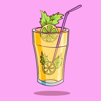 Illustration d'icône de vecteur de dessin animé de limonade royale mojito