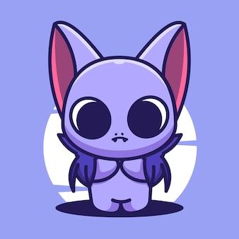 Illustration d'icône de vecteur de dessin animé mignon chauve-souris