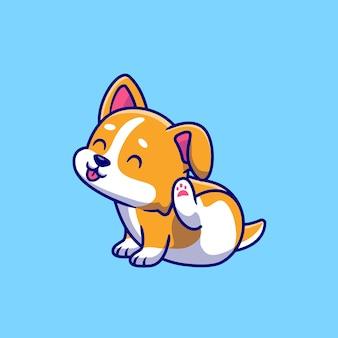Illustration d'icône de vecteur de dessin animé mignon corgi gratter oreille