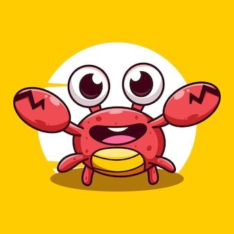 Illustration d'icône de vecteur de dessin animé mignon crabe
