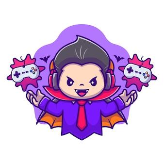 Illustration d'icône de vecteur de dessin animé mignon dracula gaming. icône de jeu halloween
