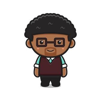 Illustration d'icône de vecteur de dessin animé mignon enseignant personnage. conception isolée sur blanc. style de dessin animé plat.