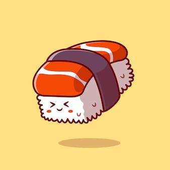 Illustration d'icône de vecteur de dessin animé mignon sushi saumon. concept d'icône de caractère alimentaire. style de bande dessinée plat