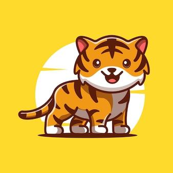 Illustration d'icône de vecteur de dessin animé mignon tigre