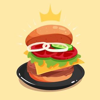 Illustration d'icône de vecteur de dessin animé royal grand burger ouvert