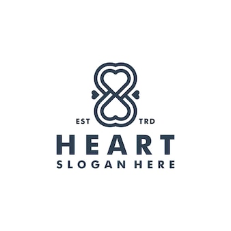 Illustration d'icône de vecteur de logo de coeur d'infini