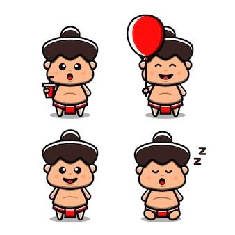 Illustration de l'icône vecteur sumo mignon. isolé. style de bande dessinée adapté pour autocollant, page de destination web, bannière, flyer, mascottes, affiche.