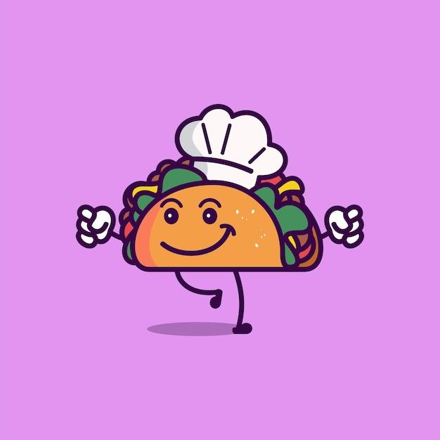 Illustration d'icône de vecteur de taco mignon style de dessin animé de caractère alimentaire