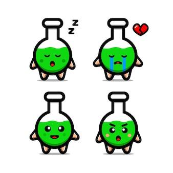 Illustration d'icône de vecteur de tube à essai mignon. isolé. style de dessin animé de chimie adapté pour autocollant, page de destination web, bannière, flyer, mascottes, affiche.