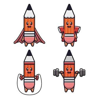 Illustration d'icône vectorielle crayon mignon. isolé. style de bande dessinée adapté pour autocollant, page de destination web, bannière, flyer, mascottes, affiche.