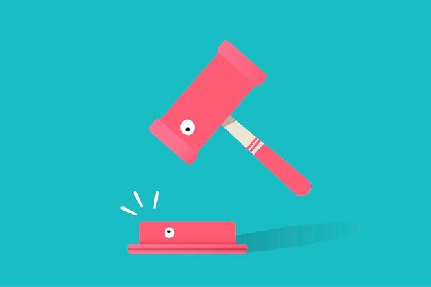 Illustration de l'icône de vente aux enchères sur fond bleu