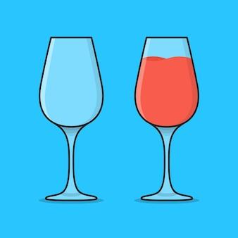 Illustration d'icône de verre à cocktail vide et plein. lunettes avec icône plate de boissons de jus