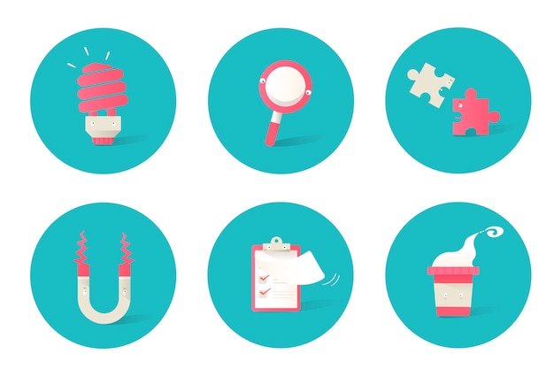 Illustration d'icônes d'affaires sur fond bleu