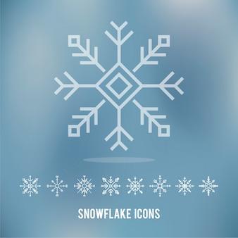 Illustration des icônes de flocons de neige mignon