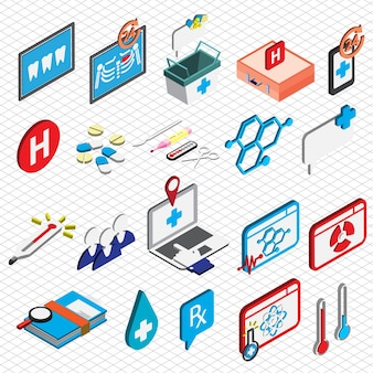 Illustration des icônes des hôpitaux définit le concept en graphique isométrique
