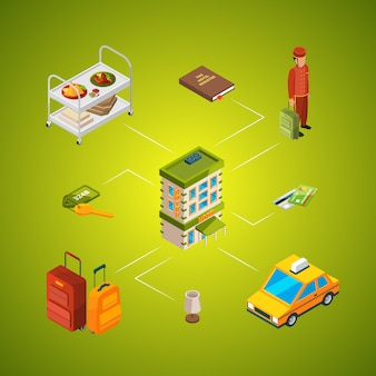 Illustration d'icônes hôtel isométrique infographie