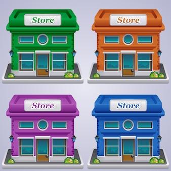Illustration d'icônes de jeu de magasin
