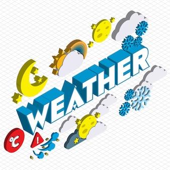 Illustration des icônes météorologiques set concept in isometric graphic