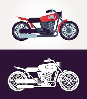 Illustration des icônes de véhicules de style tracker motos