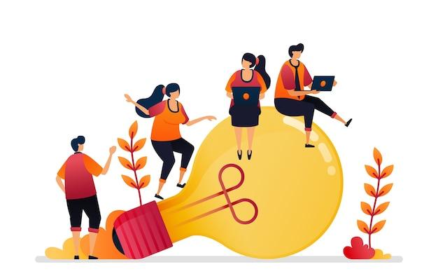 Illustration d'idée et d'inspiration, à la recherche de résolution de problèmes avec des connaissances de brainstorming