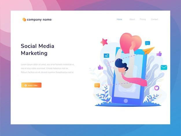 Illustration d'idées de pages web pour les entreprises et le marketing en ligne