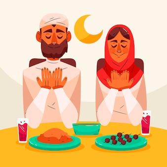 Illustration de l'iftar dessiné à la main avec des gens