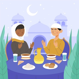 Illustration de l'iftar dessiné à la main