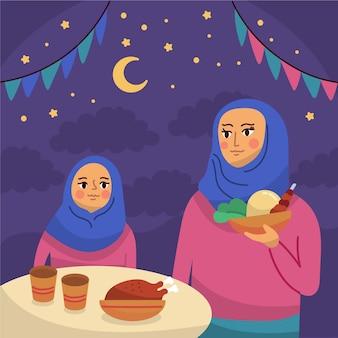 Illustration de l'iftar dessiné à la main