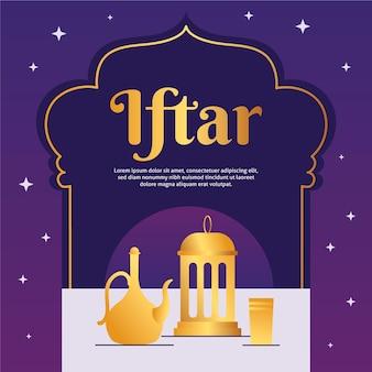 Illustration de l'iftar avec lanterne et théière