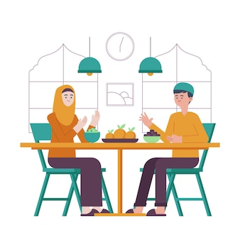 Illustration de l'iftar avec des personnes prenant un repas