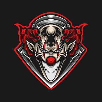 Illustration d'illustration et conception de t-shirt logo de mascotte de clown