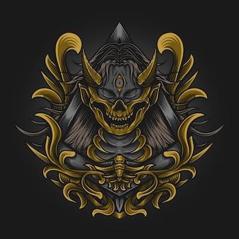 Illustration d'illustration et conception de t-shirt masque de crâne de femmes diable avec ornement de gravure