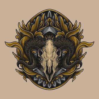 Illustration d'illustration et conception de t-shirt ornement de gravure de crâne de chèvre