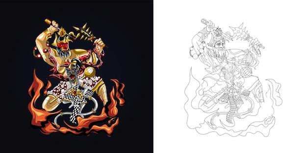 Illustration d'illustration indonésienne de culture de marionnettes en couleur et encrage