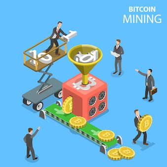 Illustration illustration isométrique de l'extraction de crypto-monnaie.