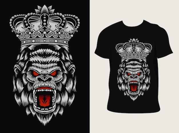 Illustration illustration de tête de gorille roi avec conception de t-shirt