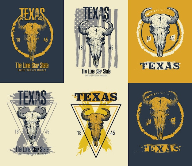 Illustration d'impression de tee de buffle du texas.