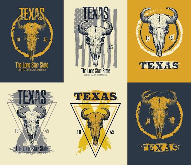 Illustration d'impression de tee de buffle du texas.