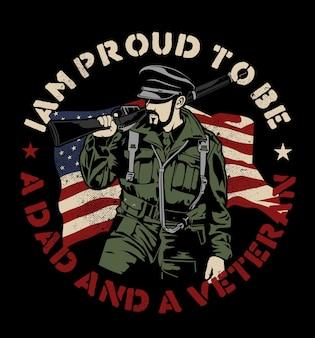 Illustration impressionnante de l'armée de vétéran américain