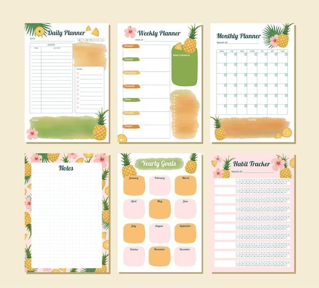Illustration imprimable d'ananas tropical planificateur de productivité pour tous les jours, hebdomadaire, mensuel et annuel