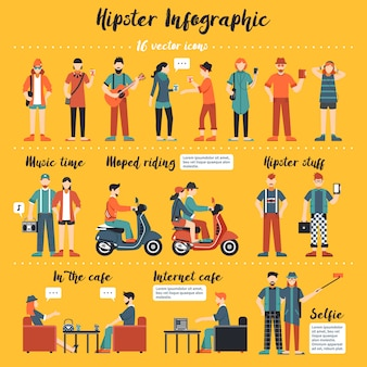 Illustration d'infographie hipster