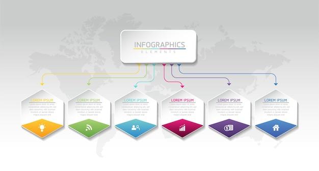 Illustration infographie modèle de conception graphique de présentation des informations commerciales avec 6 étapes