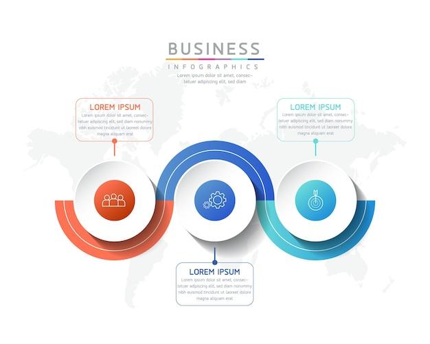 Illustration infographie modèle de conception informations marketing avec 3 options ou étapes