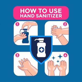 Illustration infographique de comment utiliser correctement le désinfectant pour les mains