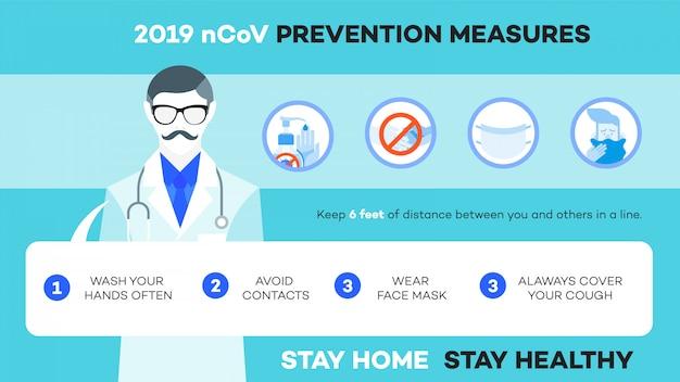 Illustration infographique comment vous protéger de ncov (covid-19, sars-cov-2).