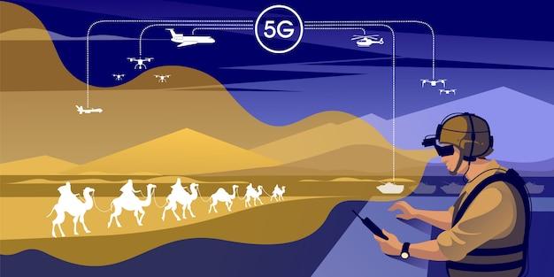 Illustration de l'infrastructure de communication militaire