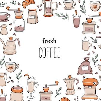 Illustration des ingrédients de doodle dessinés à la main autour du texte de café frais