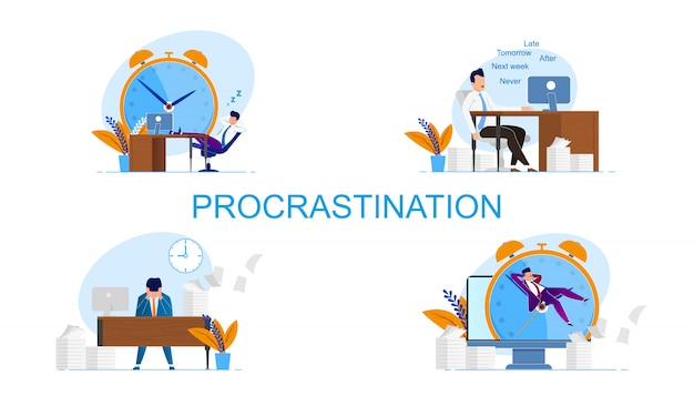 Illustration inscription set procrastination. un homme se sent coupable parce que les délais