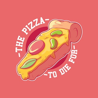Illustration d'insigne de cercueil de pizza concept drôle de marque de restauration rapide