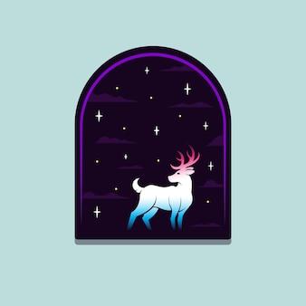 Illustration de l'insigne de cerf mystique ou de la conception de t-shirt
